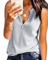 Sleeveless Waffle Weave Top in Grey