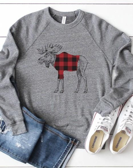 Buffalo Plaid MOOSE Sweatshirt