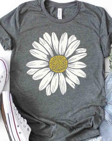 Daisy Flower T-Shirt - Grey
