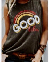 Charcoal Good Vibes Sleeveless Top