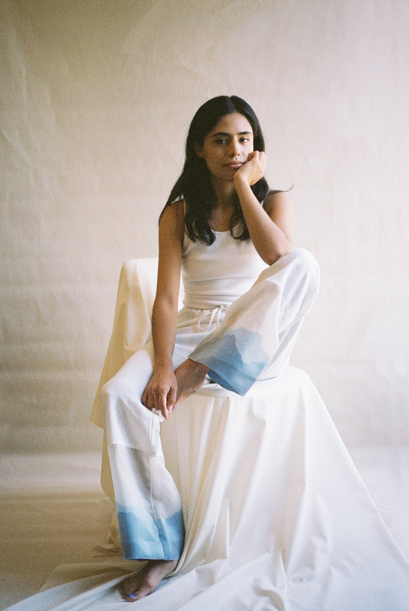 Cropped wide leg linen pants in ivory with cream silk organza panel and blue silk organza detailing