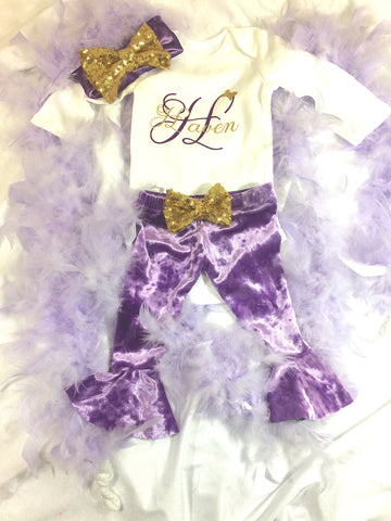 Lavender Velvet Leggings Set