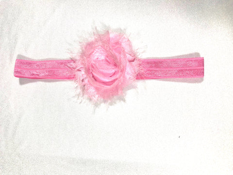 Frayed Rose on Elastic Headband