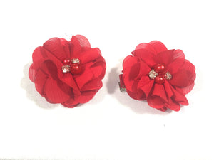 Pearl and Rhinestone Rose Clips