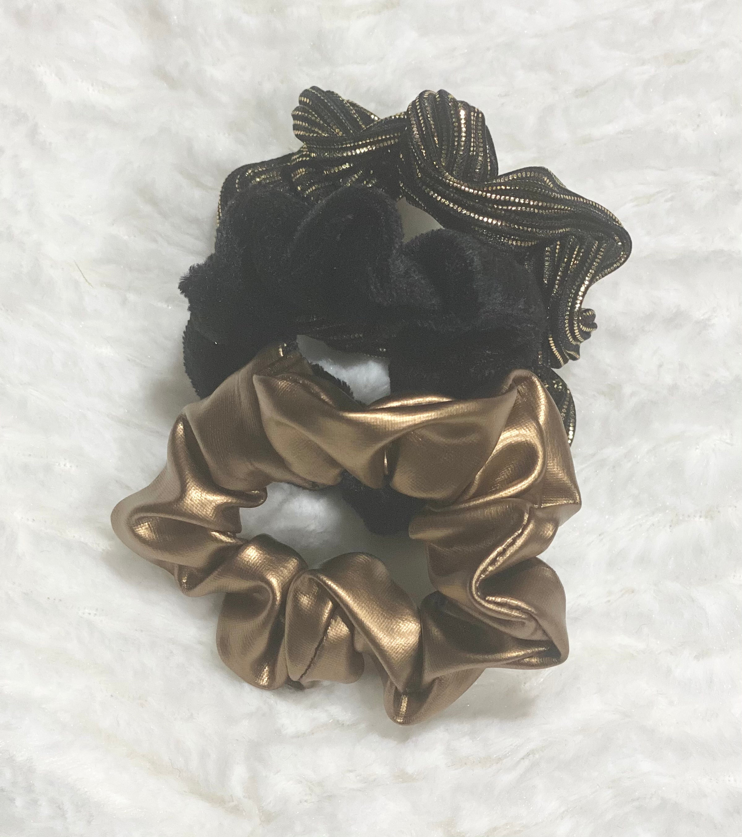 Gold and Black Scrunchies