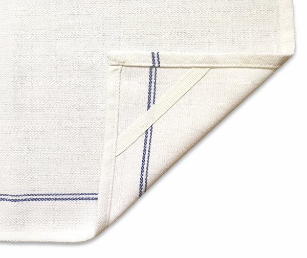 Kitchen Dish Towels - 12 Pieces, 29in x 18in, White with Blue Stripes - VibraWipe