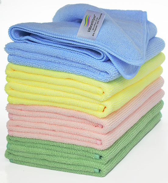 VibraWipe Microfiber Cloths, 4 Colors, 8-Piece.