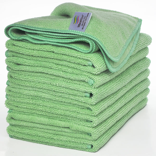 VibraWipe Microfiber Cloth, All-Green, 8-Piece