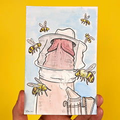 Drawing of a beekeeper penis with penis shaped bees flying around