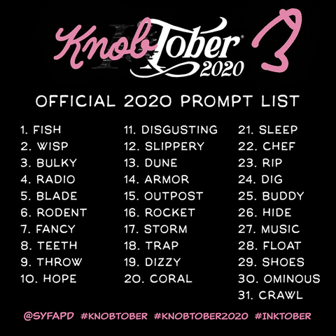 Knobtober 2020 Word list based on Inktober word prompt list