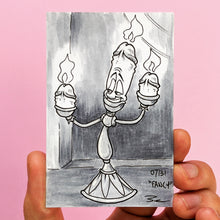 """Fancy"" Day 7 Knobtober 2020 artwork by Brendan Pearce. Drawing of candle character Lumiere from Beauty and the Beast but the candles are penises"