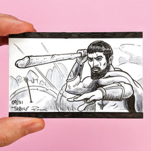 "Knobtober 2020 drawing for ""Throw"". Original artwork by Brendan Pearce of a scene from 300 with a spear about to be thrown but the spear is a penis."