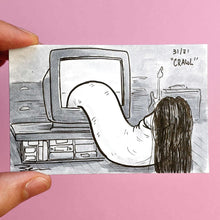 "A drawing of the famous scene from the Ring of the lady coming out of the TV only the lady is a penis with long hair. This is original art by Brendan Pearce for Day 31 of Knobtober and it is called ""Crawl""."
