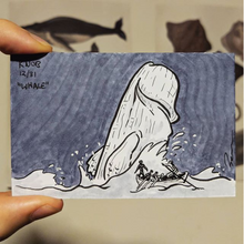 Drawing of the white whale Moby Dick as a penis leaping from the water