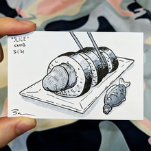 Drawing of a penis rolled in sushi that has been sliced and is being grabbed by chopsticks