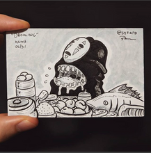 Anime themed drawing of a drooling penis at a table of food