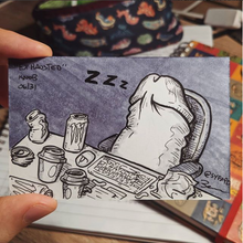 Drawing of a sleepy and exhausted penis slumped at desk with energy drinks