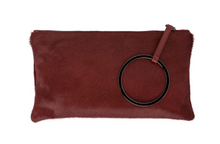 Coco pony hair clutch in wine