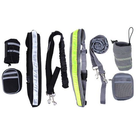 Reflective Running Belt With Leash and Two Pouches