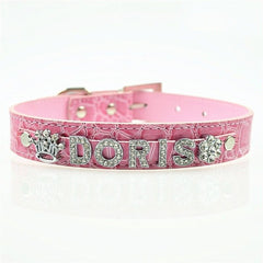 10MM Bling Personalized Dog Collar With Rhinestone Buckle