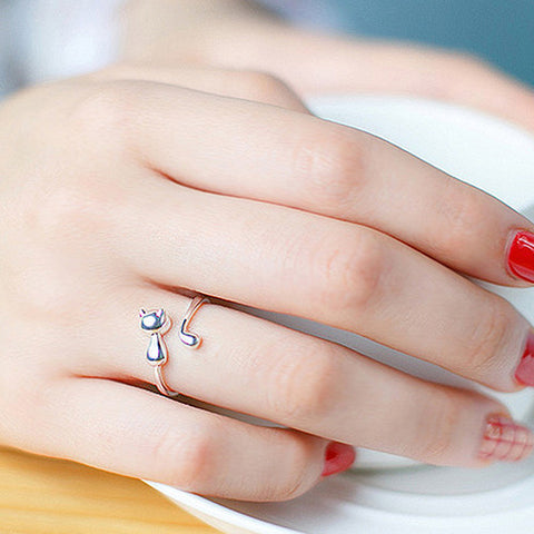 Sweet Cute Animal Cat Open Finger Ring Jewelry Charm Women Party Prom Gift