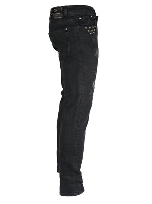 Destroyed Black with Studded Pockets 6135