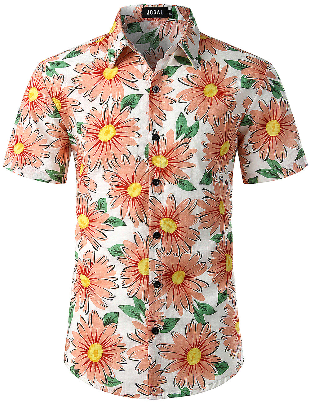 JOGAL Men's Flower Casual Button Down Short Sleeve Hawaiian Shirt(Daisy)