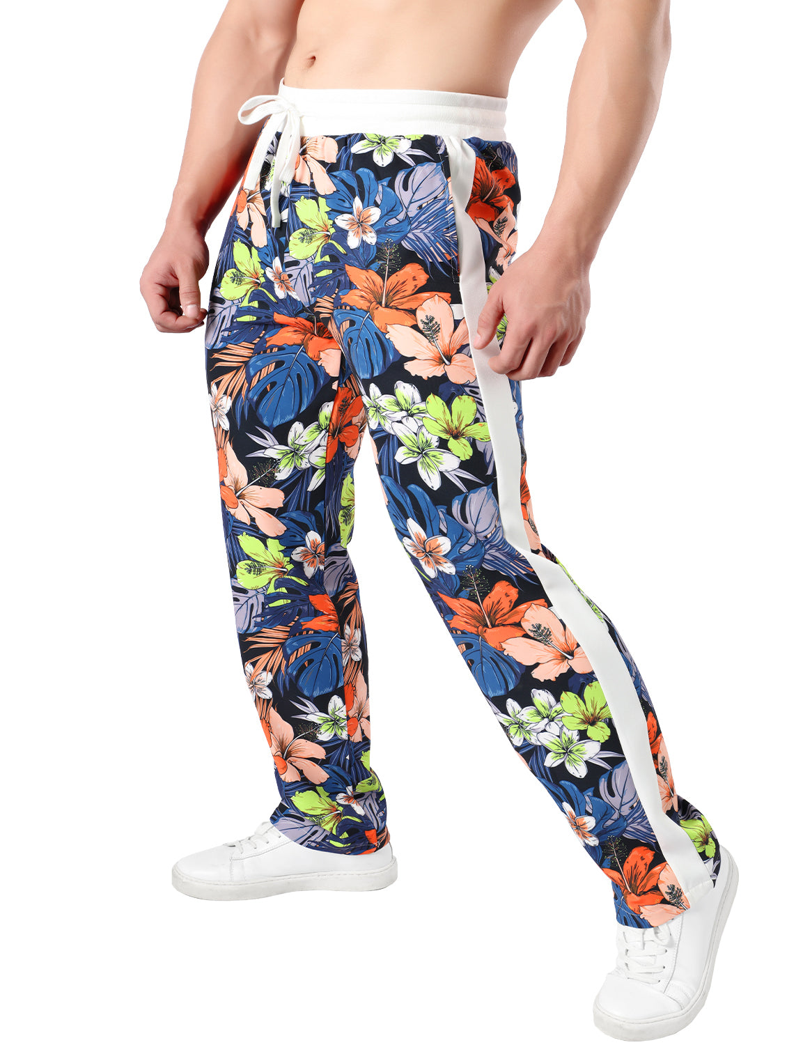 JOGAL Men's Casual Flower Prints Workout Sweatpants with Pockets