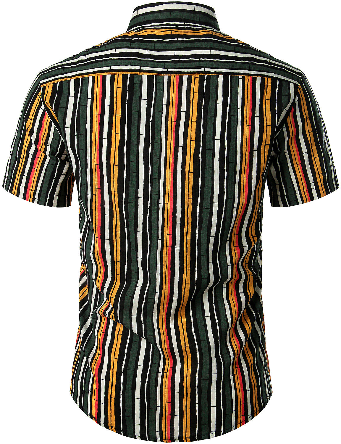 JOGAL Men's Casual Stripe Short Sleeve Button Down Shirts