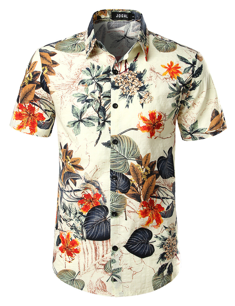 JOGAL Men's Flower Casual Button Down Short Sleeve Hawaiian Shirt(White)