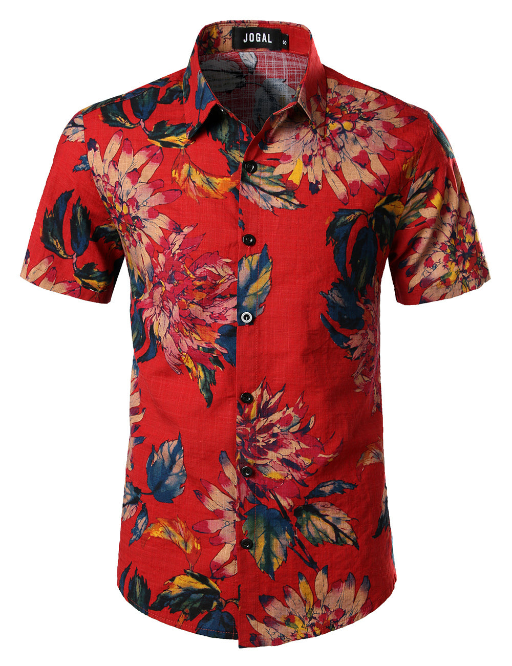 JOGAL Men's Flower Casual Button Down Short Sleeve Hawaiian Shirt(Red)