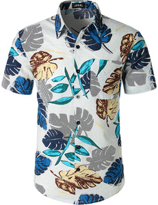 JOGAL Men's Flower Casual Button Down Short Sleeve Front packet Hawaiian Shirt(White)