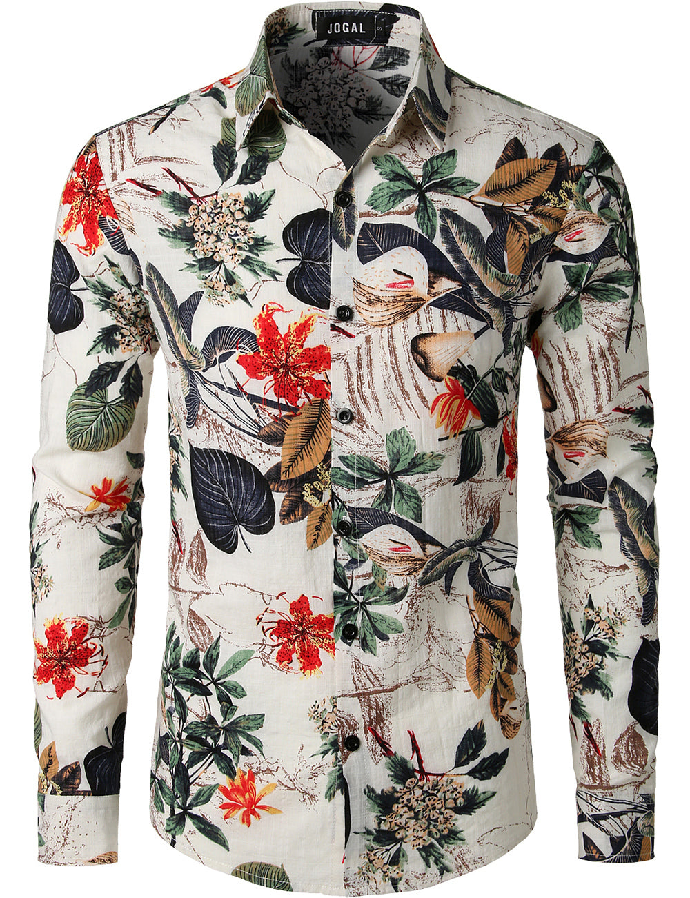 JOGAL Men's Flower Casual Button Down Long Sleeve Hawaiian Shirt(White)