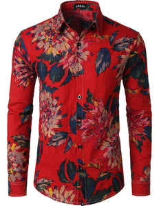 JOGAL Men's Flower Casual Button Down Long Sleeve Hawaiian Shirt(Red)
