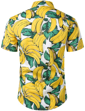 JOGAL Men's Fruit Casual Button Down Short Sleeve Hawaiian Shirt