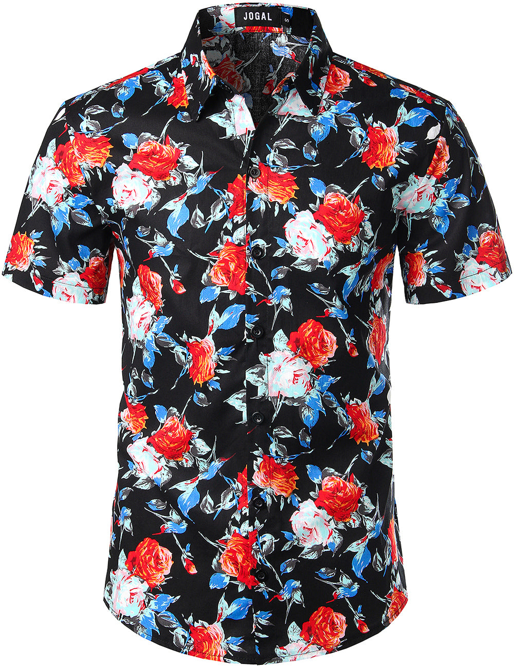 JOGAL Men's Flower Casual Button Down Short Sleeve Hawaiian Shirt(Black Camellia)