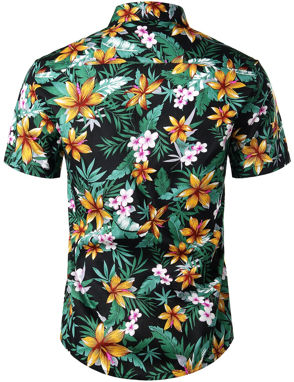 JOGAL Men's Flower Casual Button Down Short Sleeve Hawaiian Shirt(Black Lily)