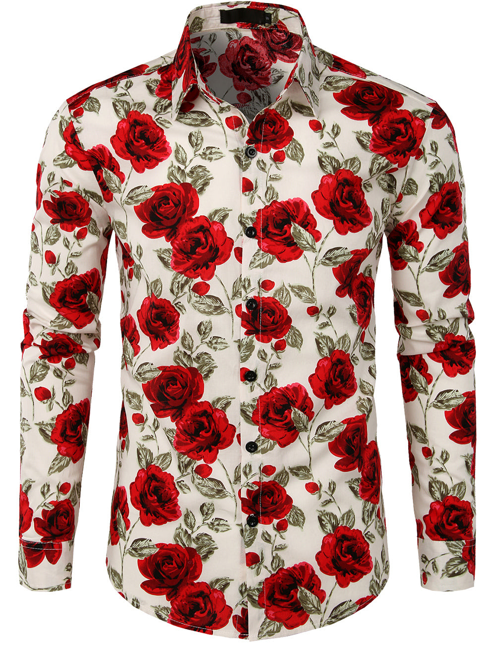 JOGAL Mens Rose Flower Casual Button Down Long Sleeve Hawaiian Shirt