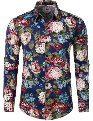 JOGAL Mens Flower Casual Button Down Long Sleeve Hawaiian Shirt
