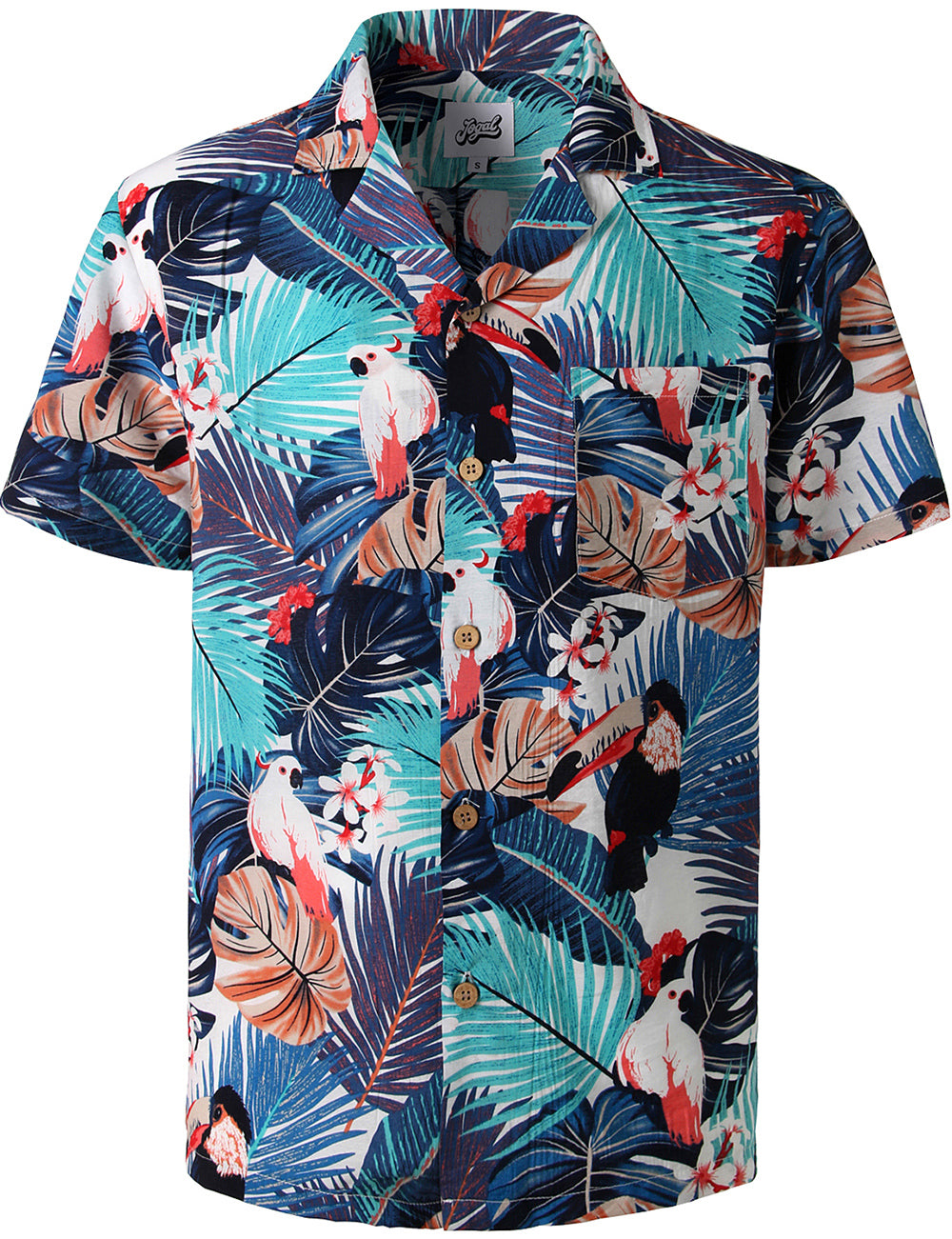 JOGAL Men's Relaxed-Fit Cotton Tropical Hawaiian Shirt(Parrots)