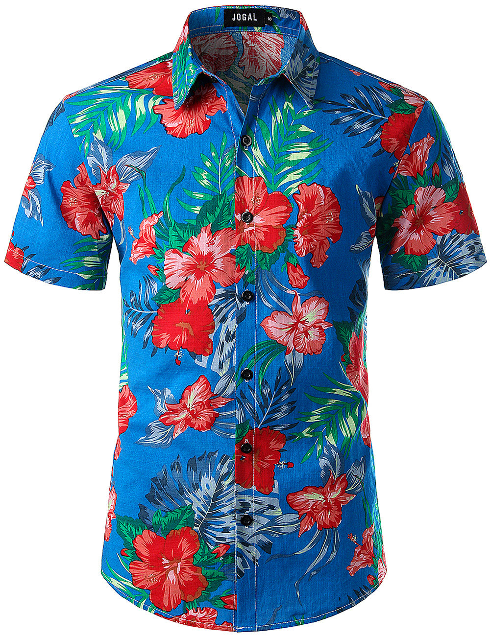 JOGAL Men's Flower Casual Button Down Short Sleeve Hawaiian Shirt(Ginger)