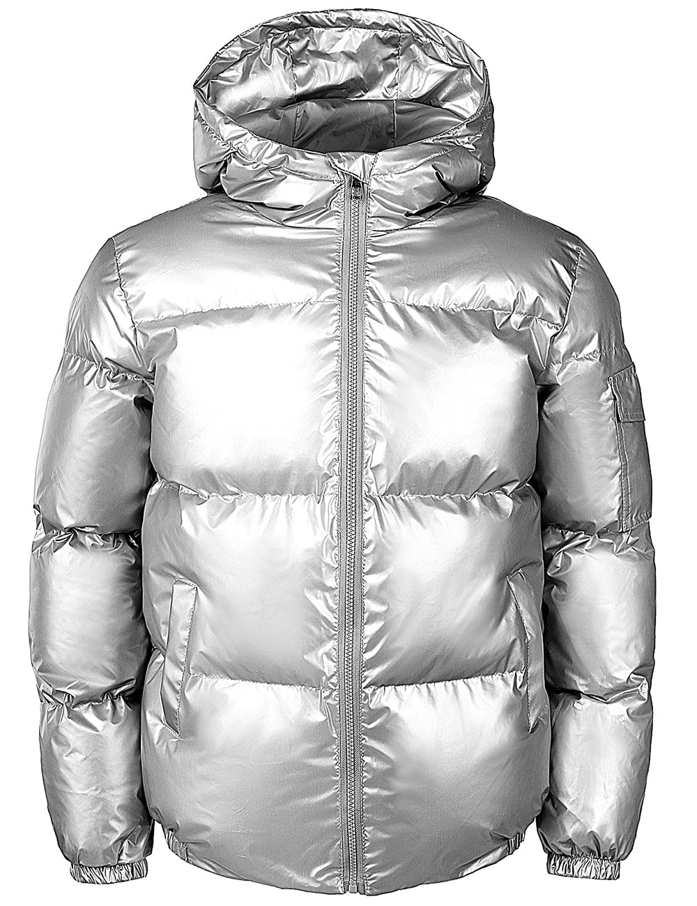 JOGAL Men's Metallic Hooded Puffer Jacket