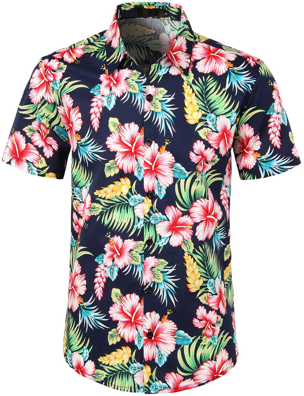 JOGAL Men's Flower Casual Button Down Short Sleeve Hawaiian Shirt(Hibiscus)