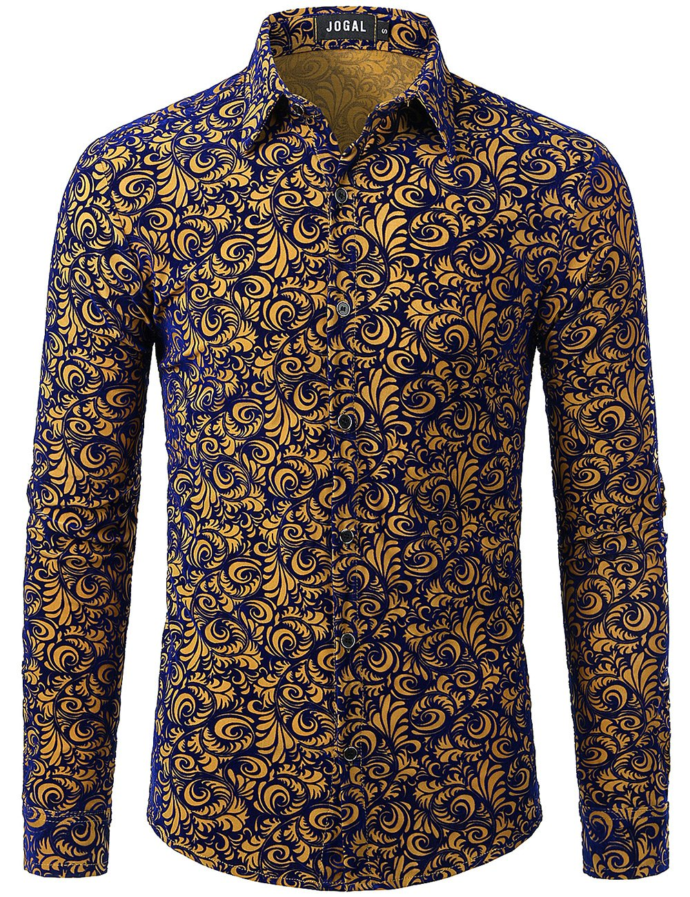 JOGAL Men's Floral Vintage Velvet Slim Fit Long Sleeve Casual Button Down Shirt