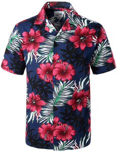 1a4acbabb4ae JOGAL Hawaiian Shirts for Men Short Sleeve Regular Fit Tropical Floral  Button Down Shirts