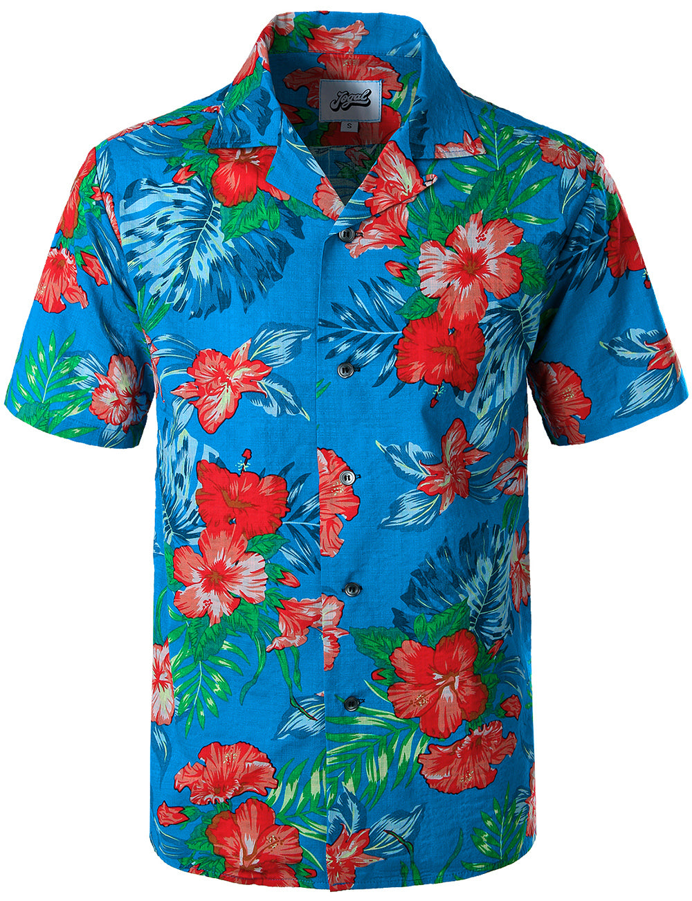 JOGAL Hawaiian Shirts for Men Short Sleeve Regular Fit Tropical Floral Button Down Shirts