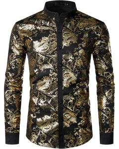 JOGAL Men's Henley Shirts Metallic Gold Print Paisley Button Down Shirt