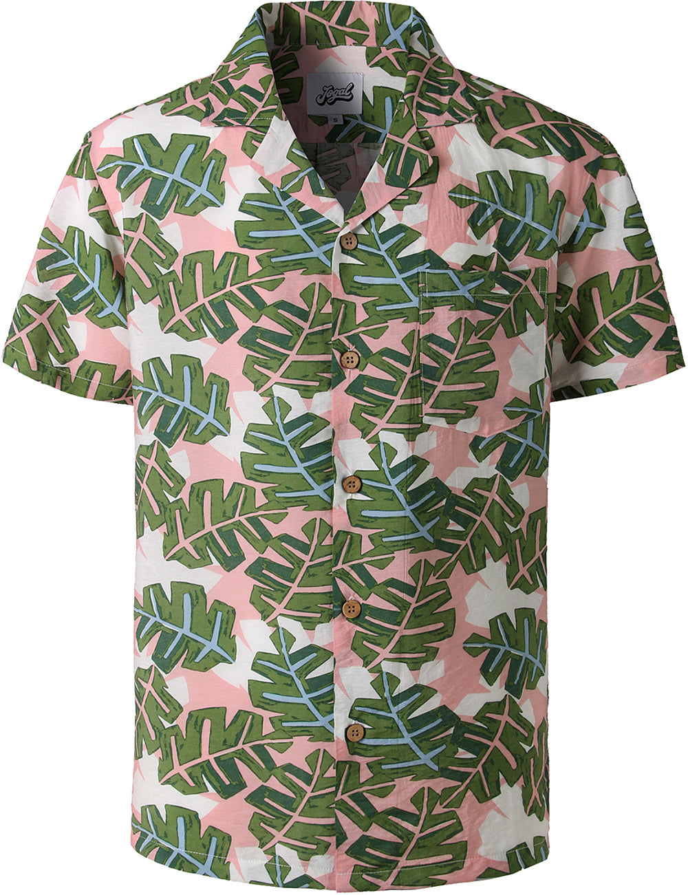 JOGAL Mens Hawaiian Shirt Short Sleeve Palms Shirt STAG Beach Holiday Casual (Leaf)