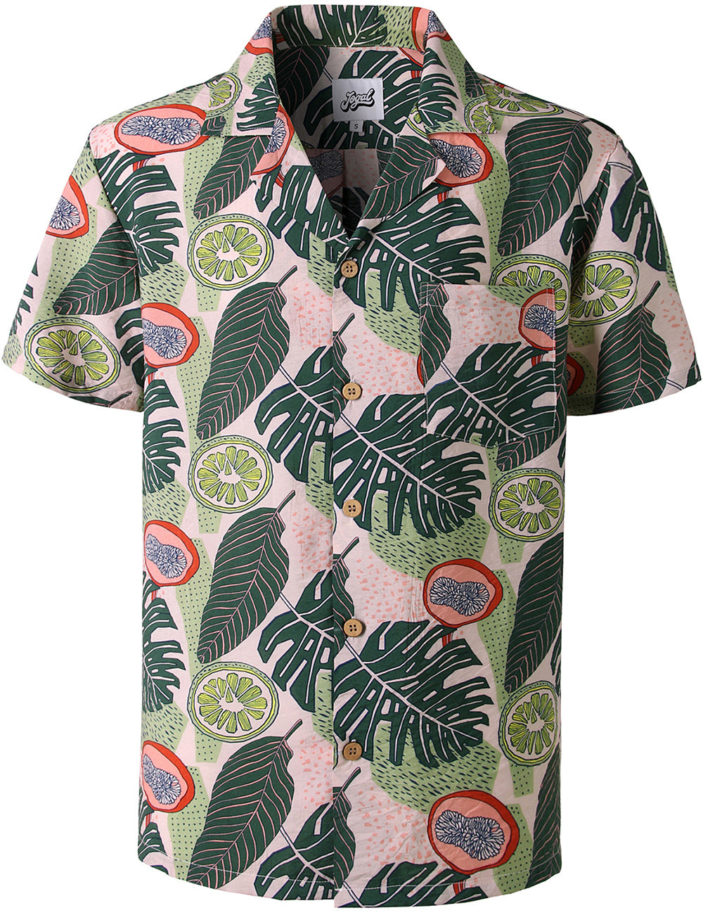 JOGAL Men's Relaxed-Fit Cotton Tropical Hawaiian Shirt(Green Lemon)