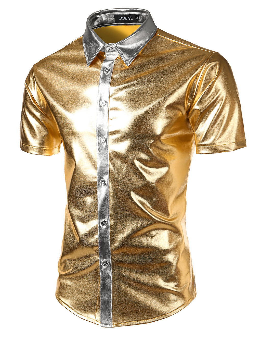 JOGAL Men's Trend Nightclub Styles Metallic Silver Button Down Shirts